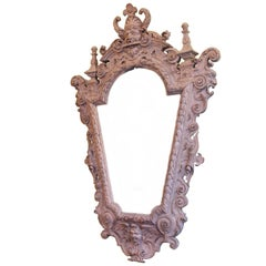 Highly Carved and Painted Italian Baroque-Style Mirror from the 19th Century