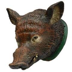 Wild Boar Head Mount Sanglier Pig Terracotta French Shop Publicity, circa 1920