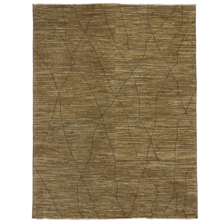 Contemporary brown moroccan area rug with modern design for Modern area rugs for sale