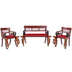 Rare Indian Carved Three-Piece Salon Suite with a Bench and Two Chairs