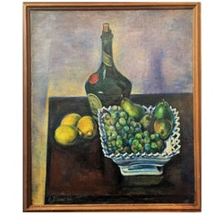 Ernest Fiene, Still Life with Cognac and Lemons Oil on Canvas Painting, 1922