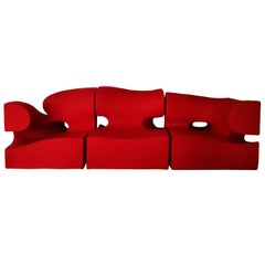 Contemporary Wide Living Room Set / Sofa by Ron Arad in Red Wool, 21st Century