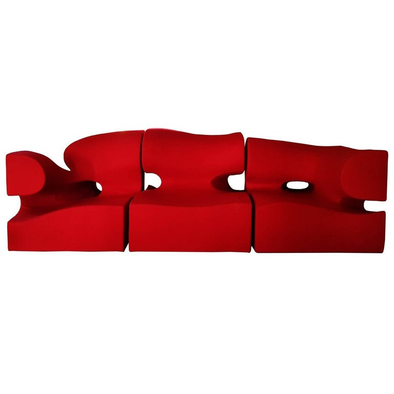 Ron Arad Contemporary Italian Moroso Wide Red Wool Living Room Set, Sofa