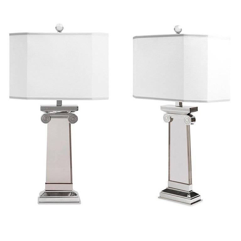 Acropolis Lucite and Nickel Table Lamp