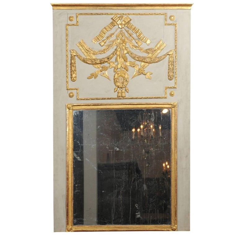 18th Century French Louis XVI Period Painted Trumeau Mirror with Giltwood Motifs