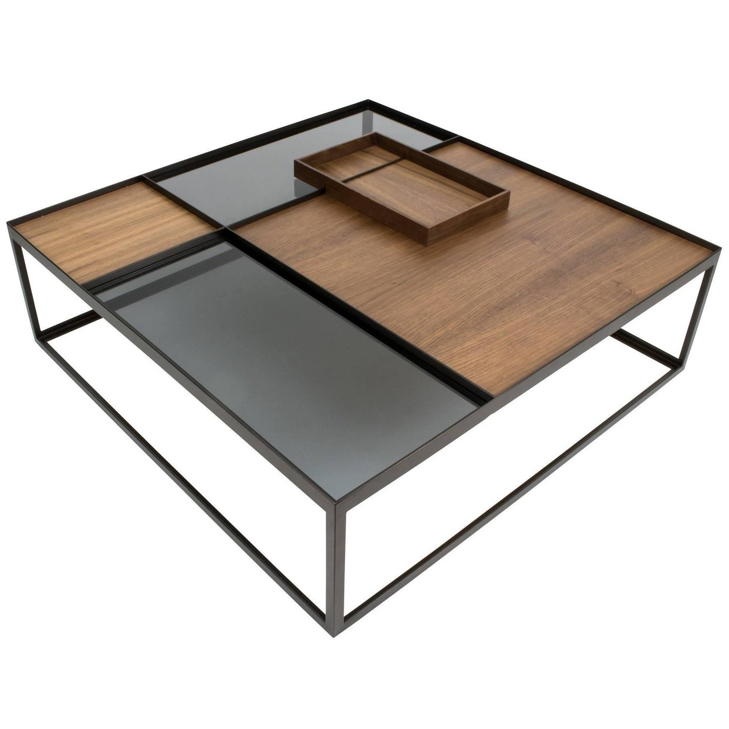 Stay Table Contemporary Walnut and Glass Architectural Coffee