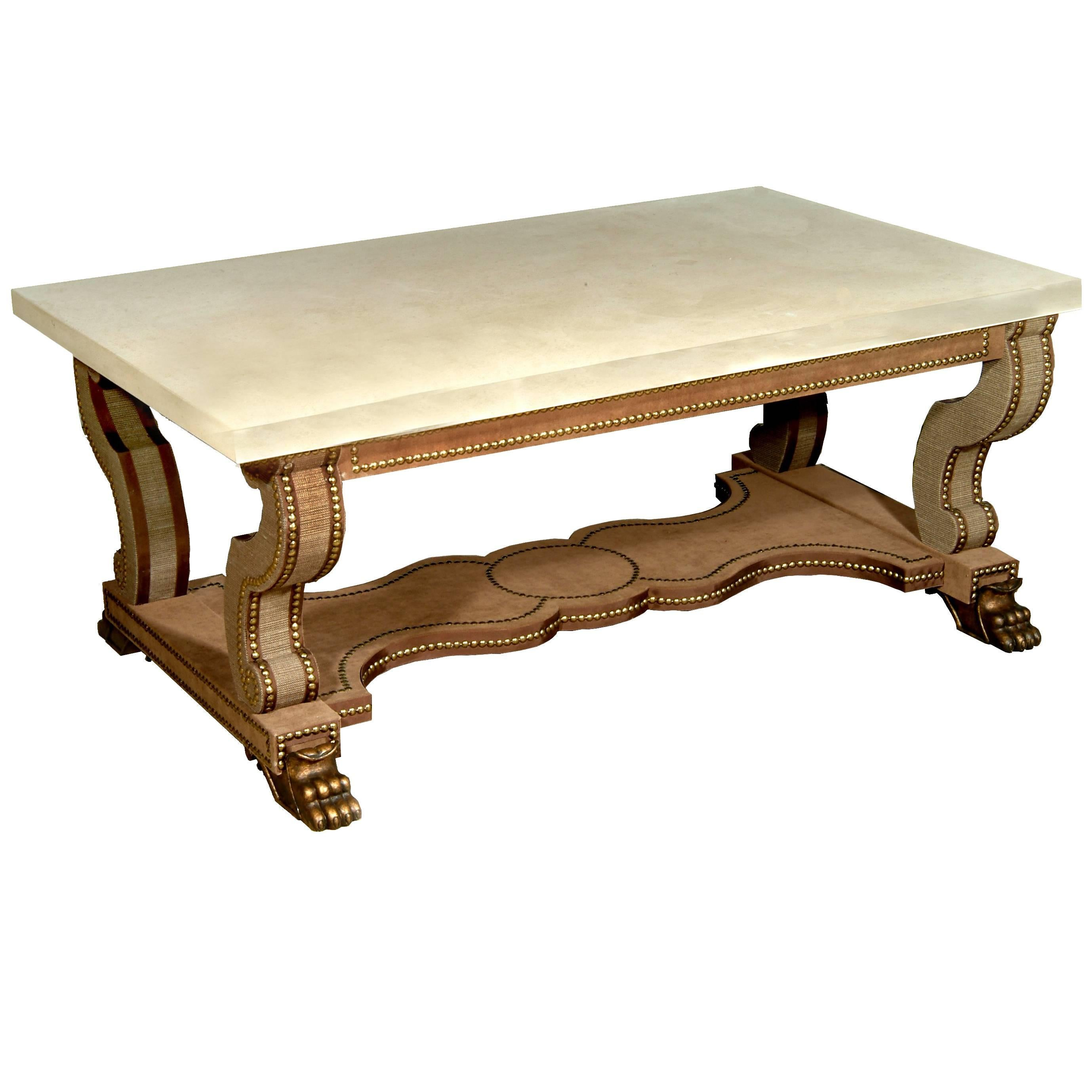 Trajan Velvet Covered Coffee Table With Limestone Top 1