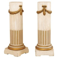 Pair of French Mid-20th Century Painted Cream and Gold Columns with Swag Motif