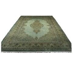 Overdyed Sage Antique Kerman Carpet