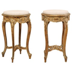 Pair of French Midcentury Carved Giltwood Round Marble-Top Occasional Tables