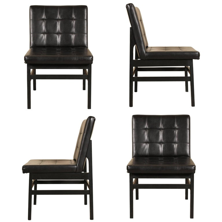 Founders Set of Four Modern Leather Chairs