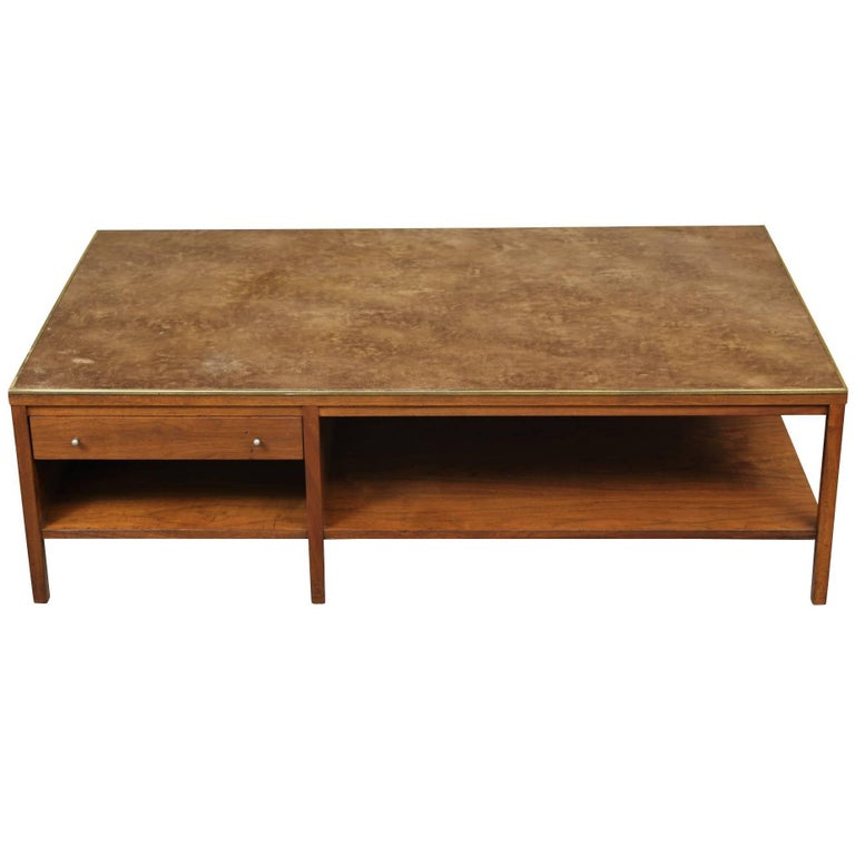Paul Mccobb Leather Top Midcentury Coffee Table For Sale At 1stdibs