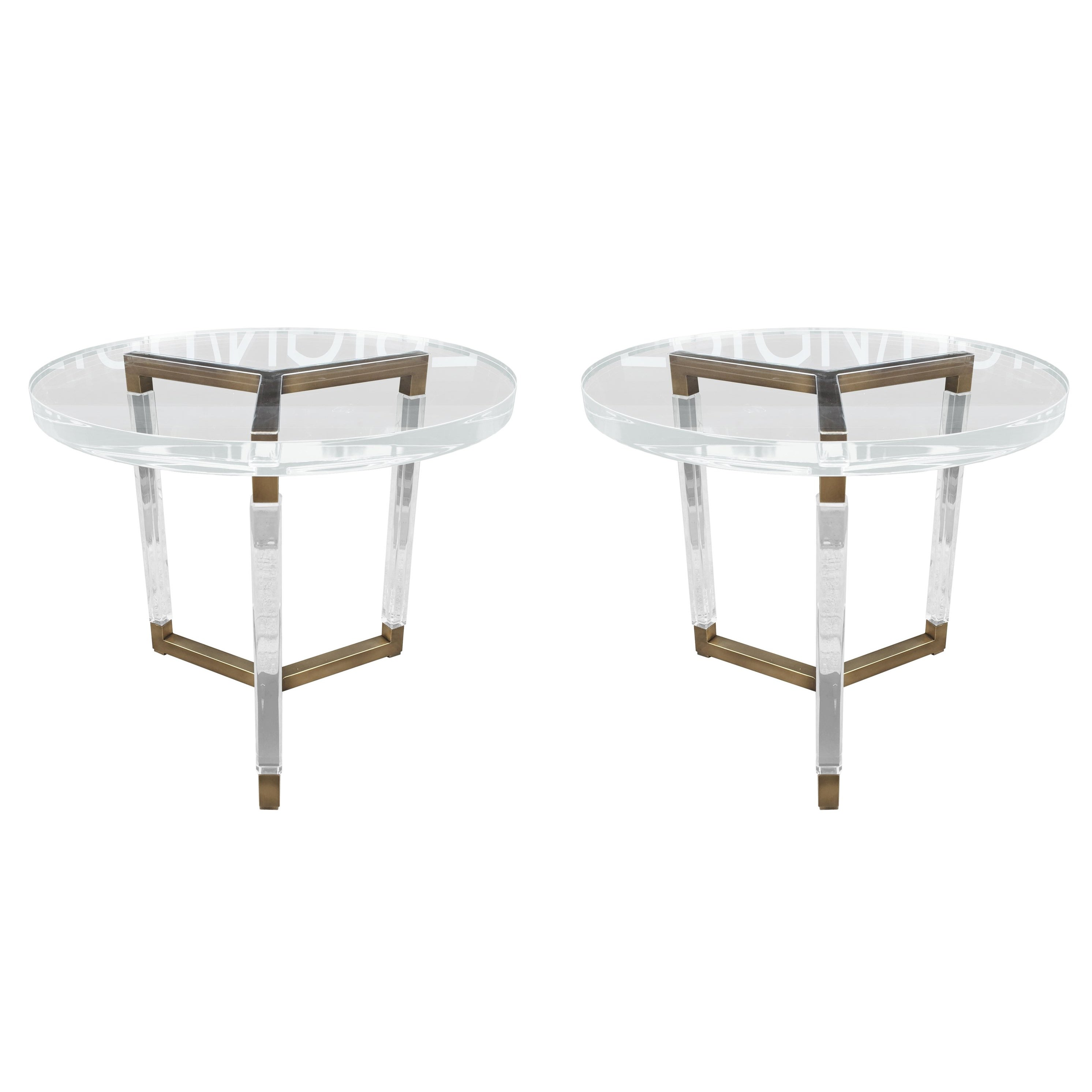 Charles Hollis Jones Solid Brass And Lucite Side Tables Metric