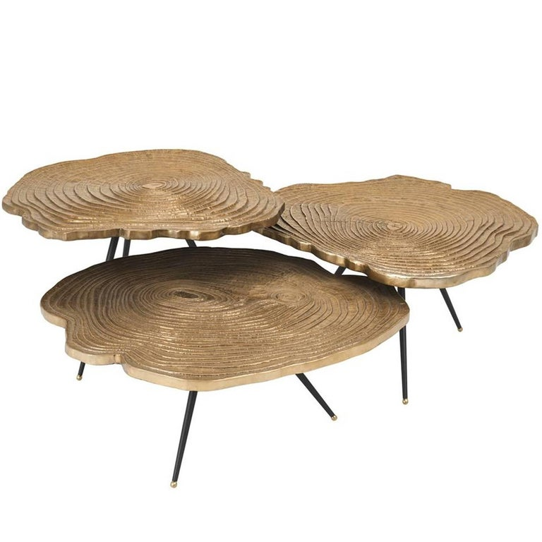 Veining Coffee Table Set Of Three In Brass Finish For Sale