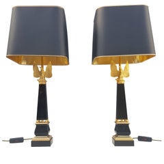 Pair of 24 Carat Gold-Plated Bronze Table Lamps