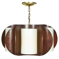 Mid-20th Century Modern Curved Walnut Wood Chandelier