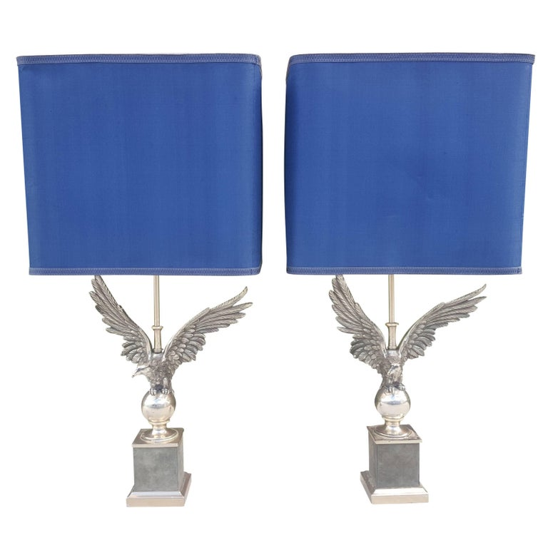 Pair of French Nickeled Bronze Eagle Table Lamps