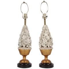 Pair of Porcelain Blanc de Chine Floral Lamps