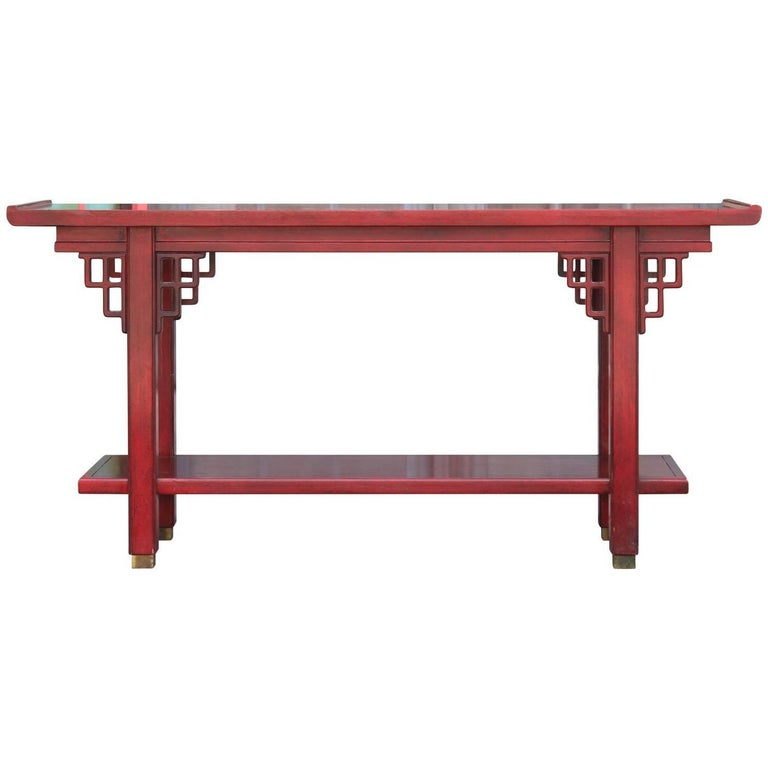 Modern Red Two-Tiered Baker Style Hollywood Regency Console Table