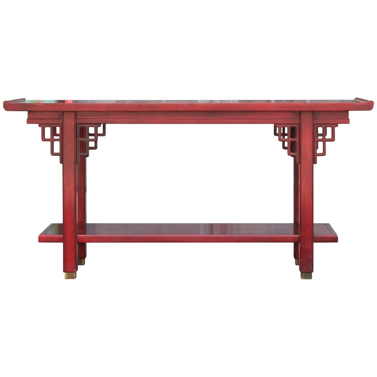 Modern Red Two Tiered Baker Style Hollywood Regency Console Table
