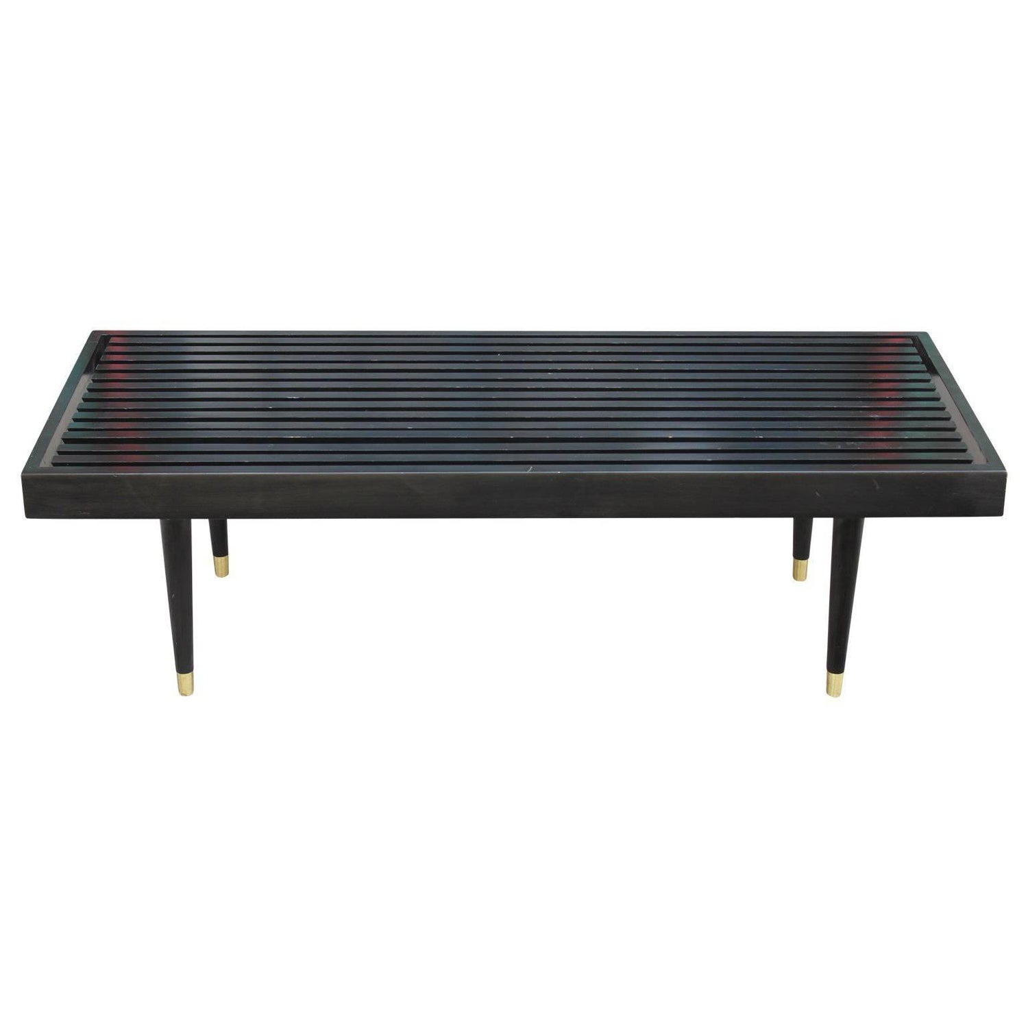 Mid Century Modern George Nelson Style Black Slat Bench with Brass