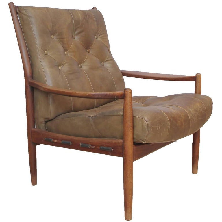 Brown Leather Danish Armchair For Sale At 1stdibs