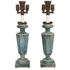 Pair of Blue-Painted Pedestal Lamps