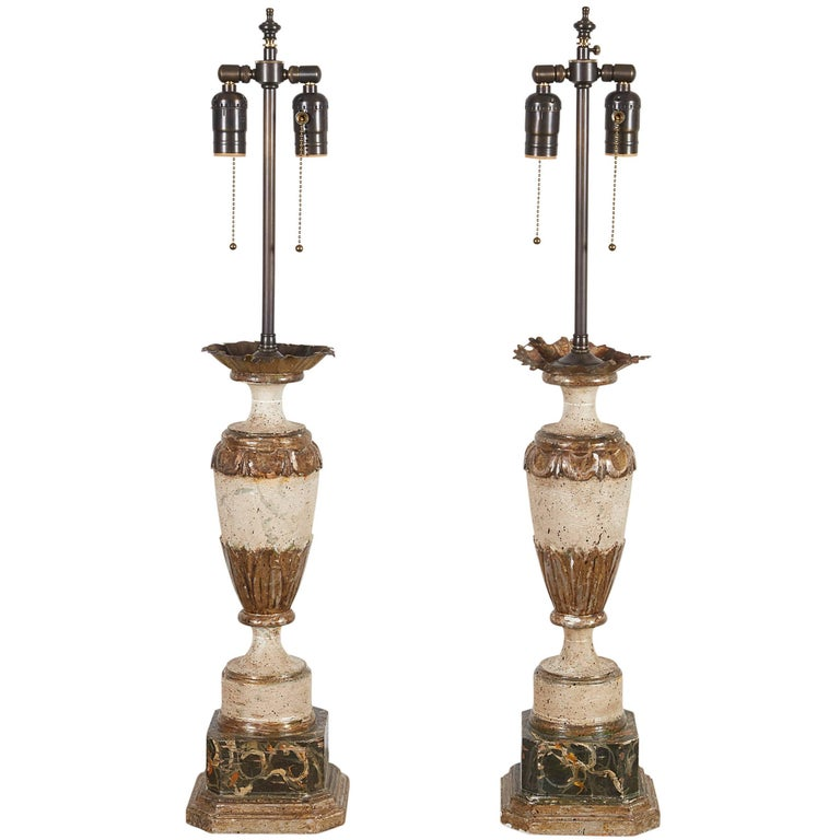 Pair of Italian White-Painted and Gilt Carved Urns Mounted as Lamps