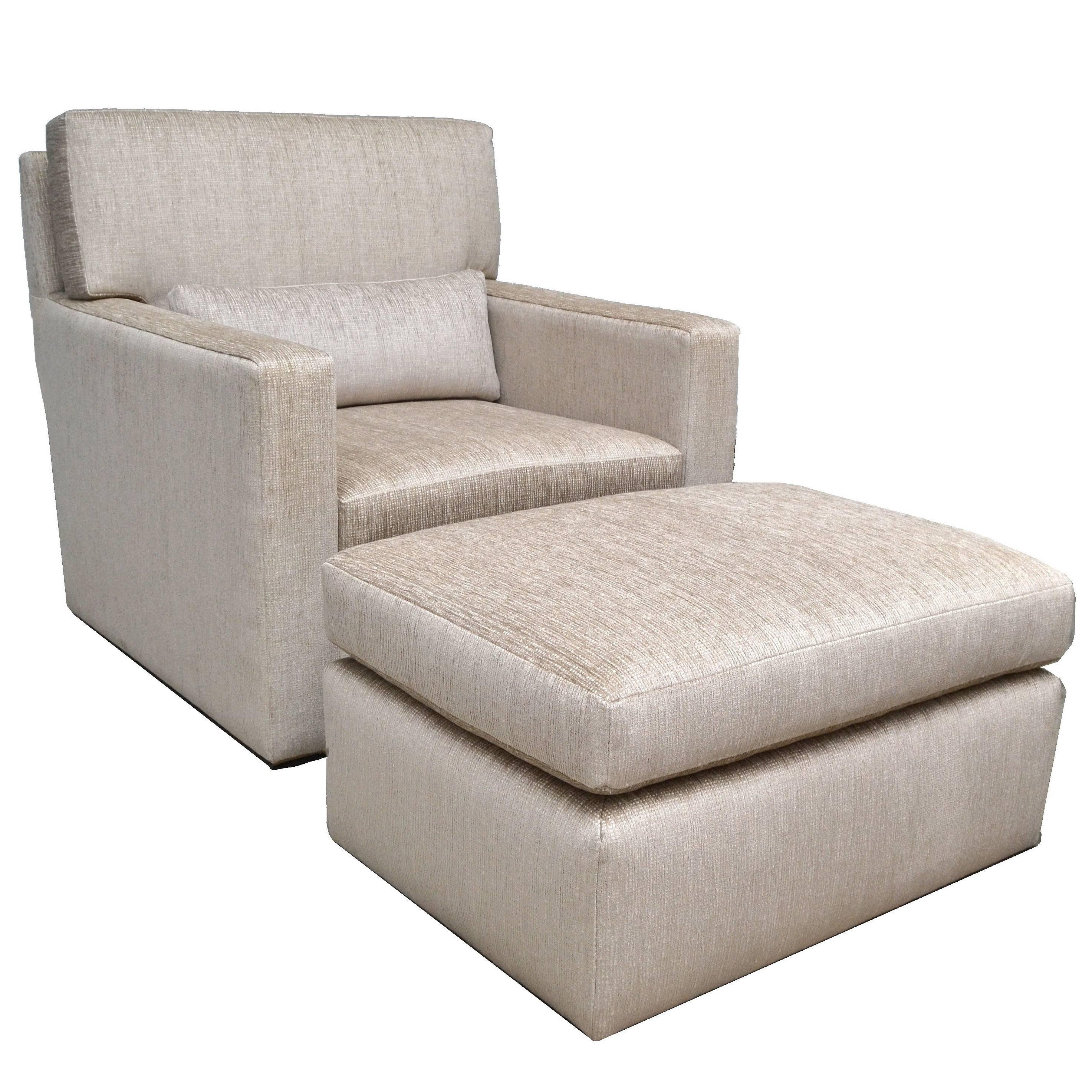 Contemporary Lounge Chair With Ottoman For Sale
