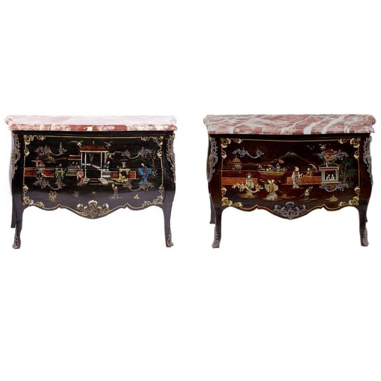 Pair of Louis XV Style Chinoiserie Marble-Topped Commodes