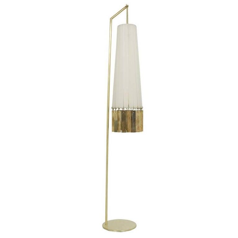 Magic Standing Lamp Brass, white strips, double face Silvered glass