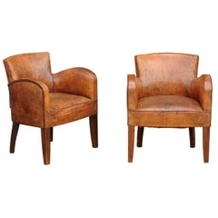 Pair of English Turn of the Century Leather Club Chairs with Nailhead Surround
