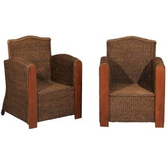Pair of French Vintage Wicker Club Chairs with Camel Back and Tall Arms