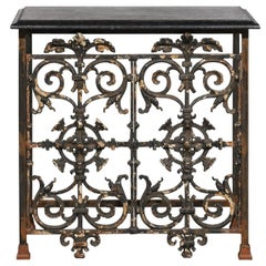 French Wrought Iron Console Table with Black Stone Top from the Mid-20th Century