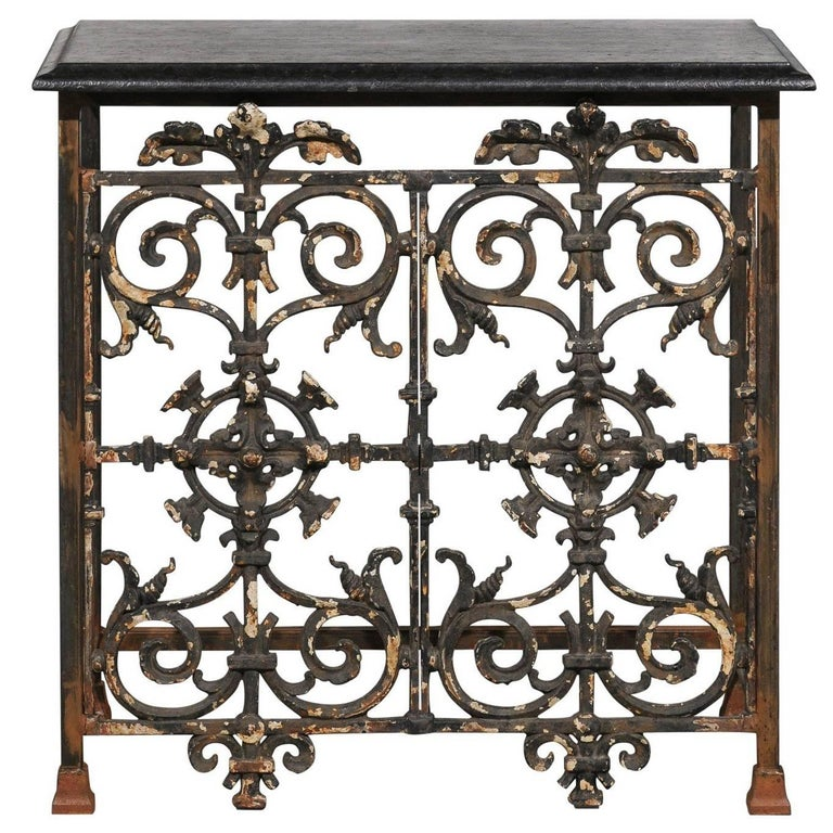 iron console table. French Wrought Iron Console Table With Black Stone Top From The Mid-20th Century For