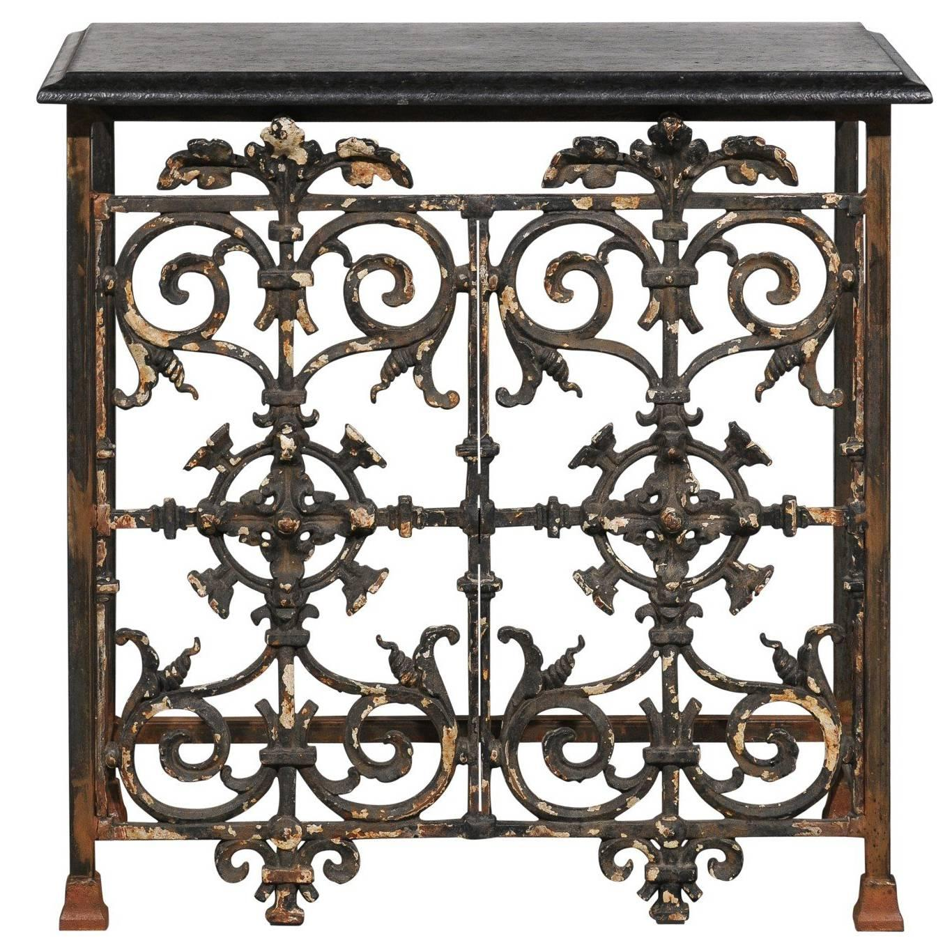 french wrought iron console table with black stone top from the mid20th century 1