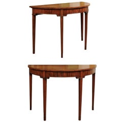 Pair of George III English Demi-Lune Console Tables in Mahogany