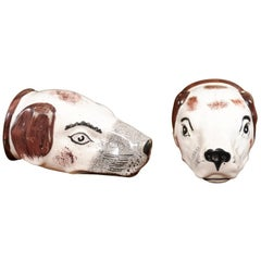 "Pair of 19th Century English Staffordshire ""Hunting Dog"" Stirrup Cups"