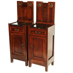 1900s, Art Nouveau Pair of Nightstands in Mahogany Top in Marble