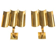 Artisan Solid Brass Wall Lamps Sconces Art Deco Style, France, 1950