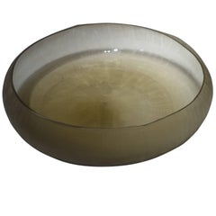 Decorative Etched Gold Glass Bowl, Romania, Contemporary
