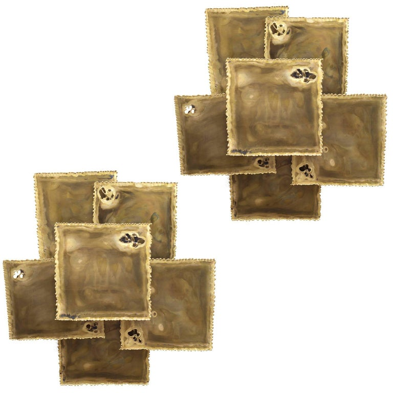 Sven Aage Holm Sorensen Torch Cut Brass Brutalist Sconces, Denmark, 1960s For Sale