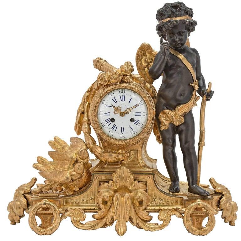 French 19th Century Louis XVI Style Ormolu Clock by Japy Frères and Bardon Paris