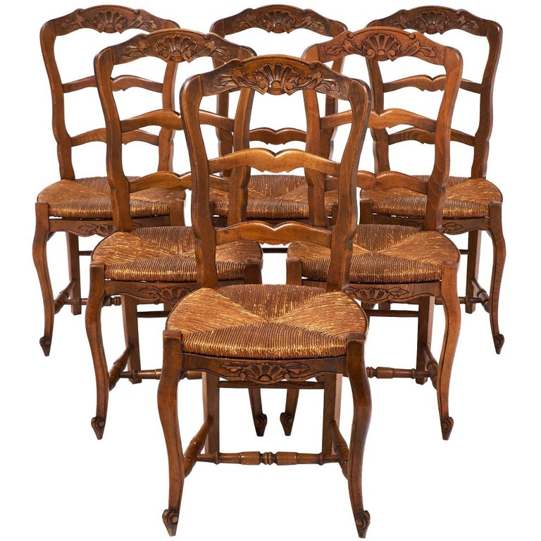 Set of Wicker and Wood French Antique Dining Chairs For Sale