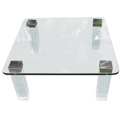 Vintage Lucite and Polished Nickel Coffee Table with Glass Top