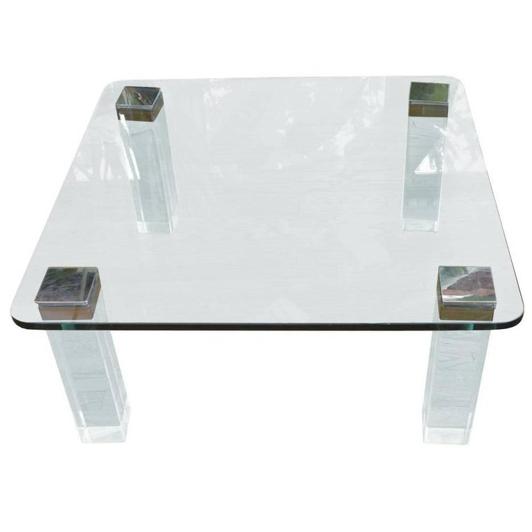 Vintage Lucite and Polished Nickel Coffee Table with Glass Top For Sale
