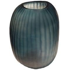 Blue Rib Vase, Romania, Contemporary