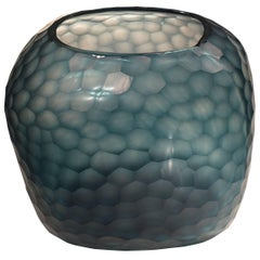 Blue Cut Crystal Vase, Romania, Contemporary