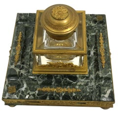Napoleonic Marble, Gilt Bronze and Crystal Inkwell, 19th Century