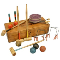 Table Croquet Set in Pine Box